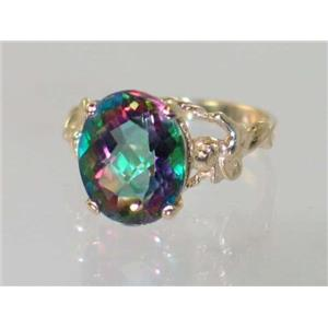 R154, Mystic Fire Topaz, Gold Angel Ring