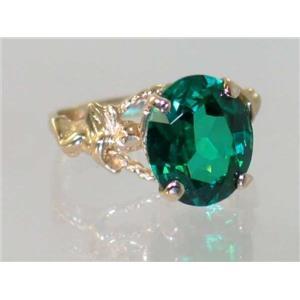 R154, Russian Nanocrystal Emerald, Gold Angel Ring