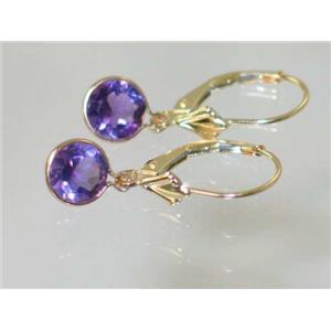 E011, Amethyst, 14k Gold Earrings