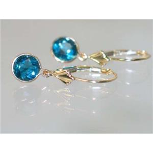 E011, London Blue Topaz, 14k Gold Earrings