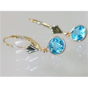 E011, Swiss Blue Topaz, 14k Gold Earrings
