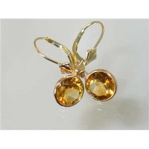 E111, Citrine, 14k Gold Earrings