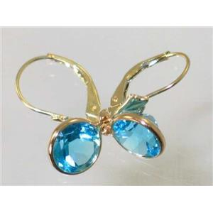 E111, Swiss Blue Topaz, 14k Gold Earrings