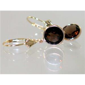 E111, Smoky Quartz, 14k Gold Earrings
