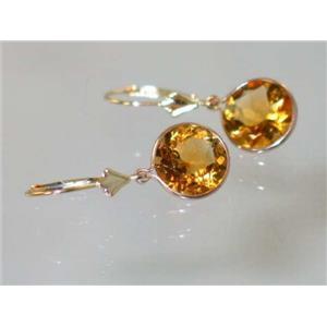 E211, Citrine, 14k Gold Earrings