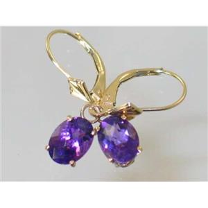 E007, Amethyst, 14k Gold Earrings