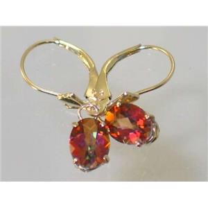 E007, Twilight Fire Topaz, 14k Gold Earrings