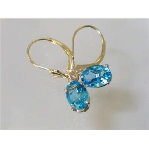 E007, Swiss Blue Topaz, 14k Gold Earrings