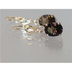 E007, Smoky Quartz, 14k Gold Earrings
