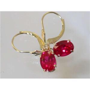 E007, Created Ruby, 14k Gold Earrings