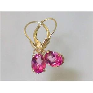 E007, Pure Pink Topaz, 14k Gold Earrings