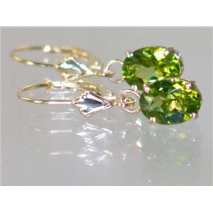 E007, Peridot, 14k Gold Earrings