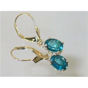 E007, Paraiba Topaz, 14k Gold Earrings
