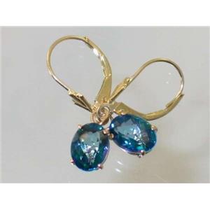 E007, Neptune Garden Topaz, 14k Gold Earrings