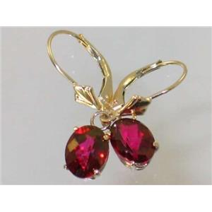 E007, Crimson Topaz, 14k Gold Earrings