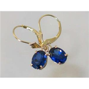 E007, Created Blue Sapphire, 14k Gold Earrings