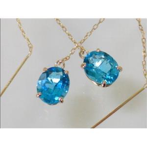 E103, Swiss Blue Topaz, 14k Gold Earrings
