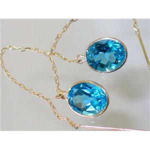 E105, Swiss Blue Topaz, 14k Gold Threader Earrings