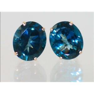 E202, London Blue Topaz,14K Gold Earrings