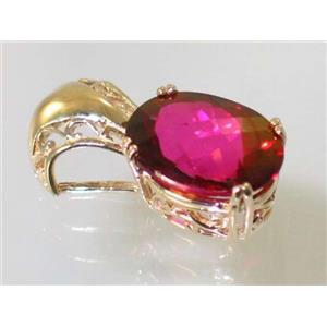 P050, Crimson Topaz 14k Gold Pendant