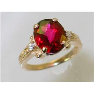 R136, Crimson Topaz, Gold Ring