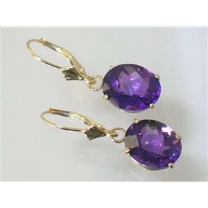 E207, Amethyst, 14k Gold Earrings