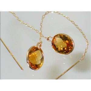 E105, Citrine, 14k Gold Threader Earrings