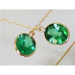 E105, Russian Nanocrystal Emerald, 14k Gold Threaders