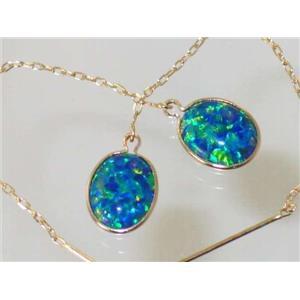 E105, Created Blue/Green Opal, 14k Gold Earrings
