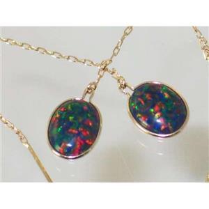 E105, Created Black Opal, 14k Gold Threader Earrings