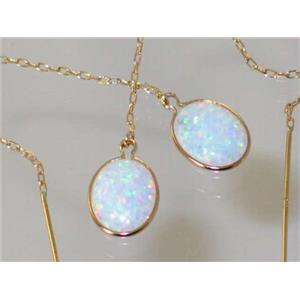 E105, Created White Opal, 14k Gold Threader Earrings