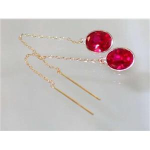 E105, Lab Ruby, 14k Gold Threader Earrings