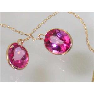 E105, Pure Pink Topaz, 14k Gold Threader Earrings