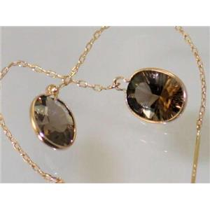 E105, Smoky Quartz, 14k Gold Threader Earrings