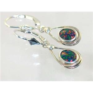 SE008, Created Black Opal, 925 Sterling Silver Earrings