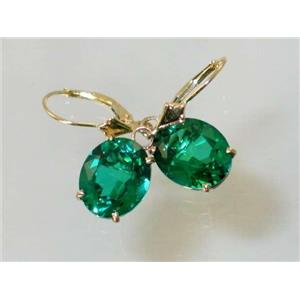 E207, Russian Nanocrystal Emerald, 14k Gold Earrings