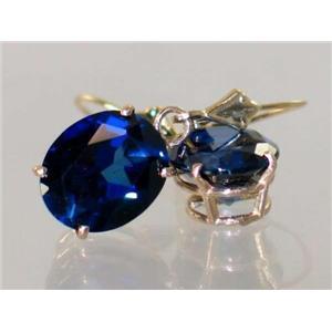 E207, Lab Sapphire, 14k Gold Earrings