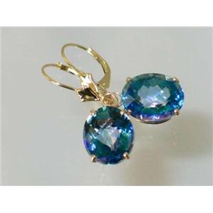 E207, Neptune Garden Topaz, 14k Gold Earrings