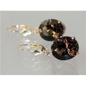 E207, Smoky Quartz, 14k Gold Earrings