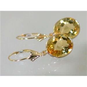 E201, Citrine, 14k Gold Earrings
