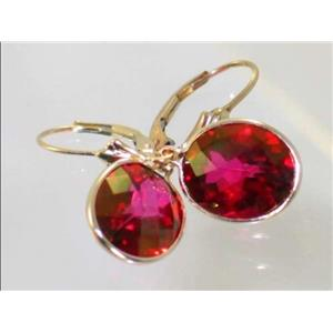 E201, Crimson Topaz, 14k Gold Earrings