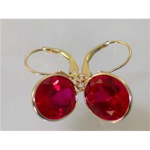 E201, Lab Ruby, 14k Gold Earrings