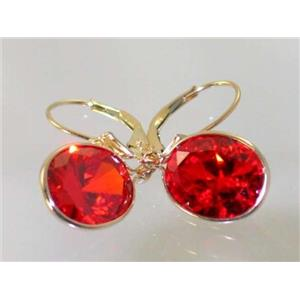 E201, Padparadsha Sapphire, 14k Gold Earrings
