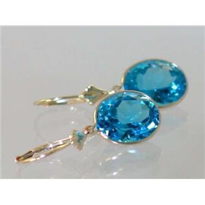E201, Swiss Blue Topaz, 14k Gold Earrings