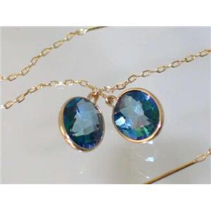 E105, Neptune Garden Topaz, 14k Gold Threader Earrings