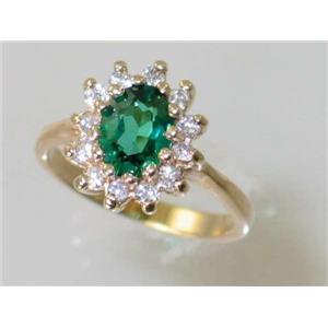 R235, Russian Nanocrystal Emerald, Gold Ring