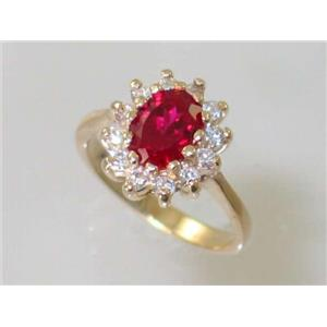 R235, Lab Ruby, Gold Ring