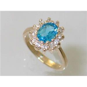 R235, Swiss Blue Topaz, Gold Ring