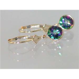 E011, Mystic Fire Topaz, 14k Gold Earrings