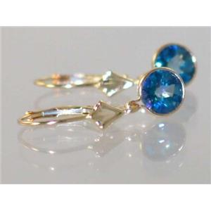 E011, Neptune Garden Topaz, 14k Gold Earrings